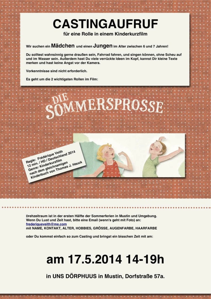 Casting Aufruf - Sommersprosse