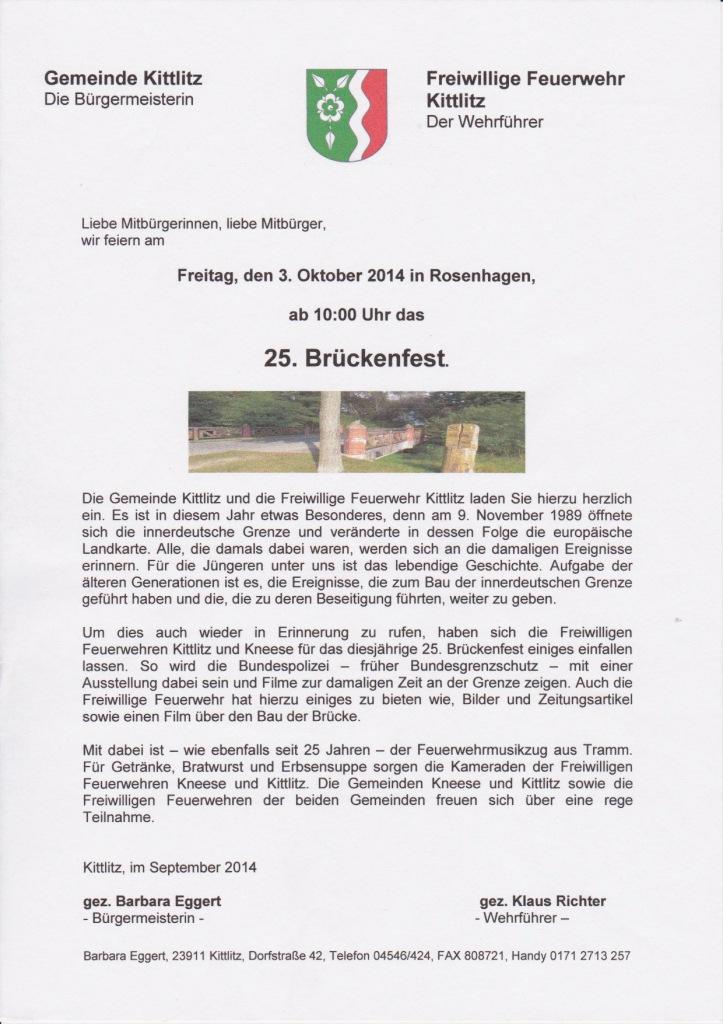 Brückenfest in Rosenhagen von Kittlitz und Kneete