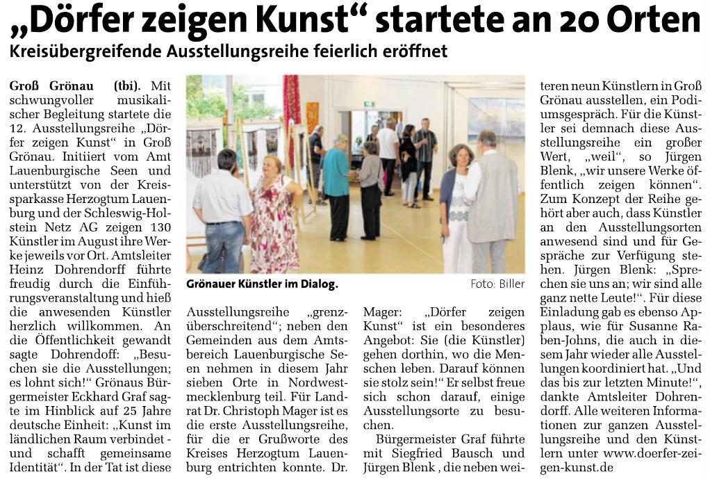Dörger zeigen Kunst - Markt vom 12. August 2015